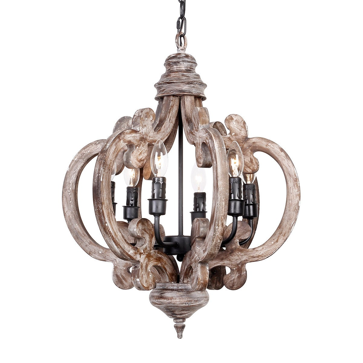Distressed Weathered Oak 6 Light Wood Chandelier Free Shipping Today 19781012