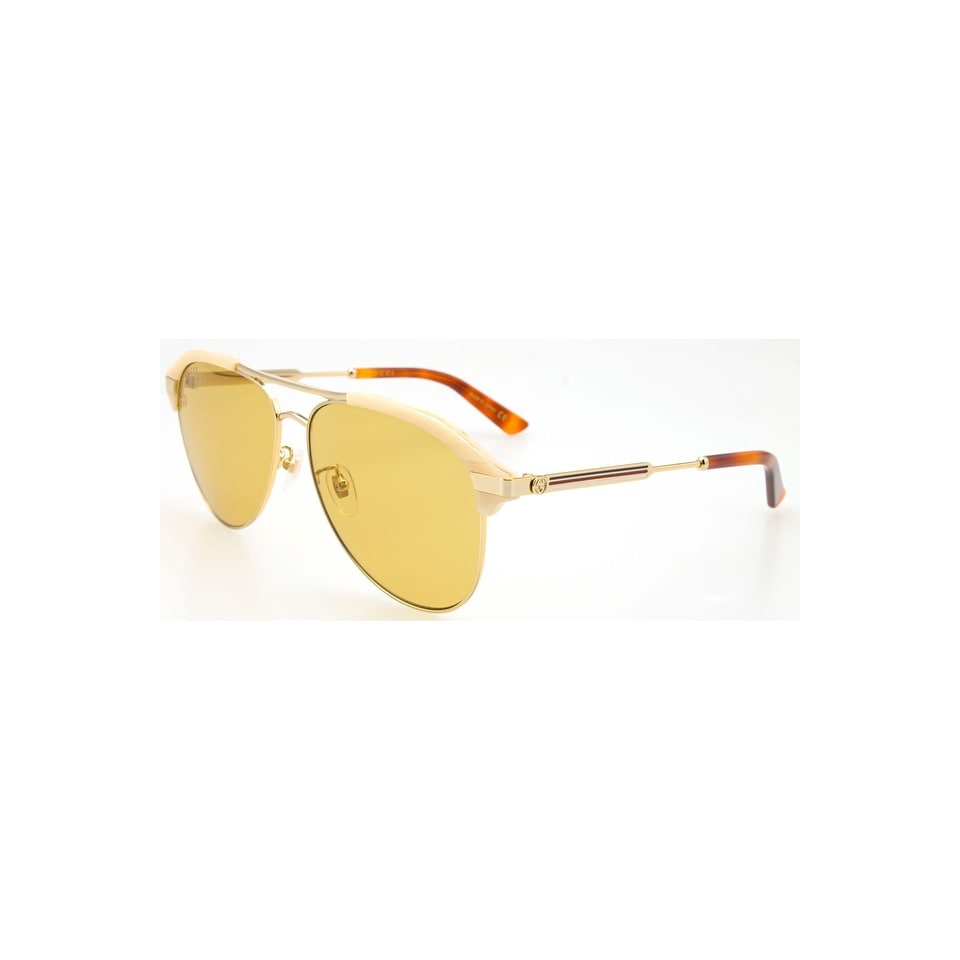 2d3b138da1 Shop Gucci Brown Aviator Sunglasses Gg0288Sa-004 60 - BEIGE-GOLD-BROWN -  One Size - Free Shipping Today - Overstock - 24266487