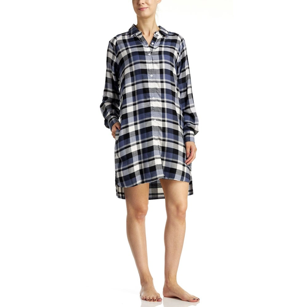 c1ceb9b7fc Shop DKNY Women s Flannel Sleepshirt - Blue Plaid - Free Shipping On Orders  Over  45 - Overstock - 18064206