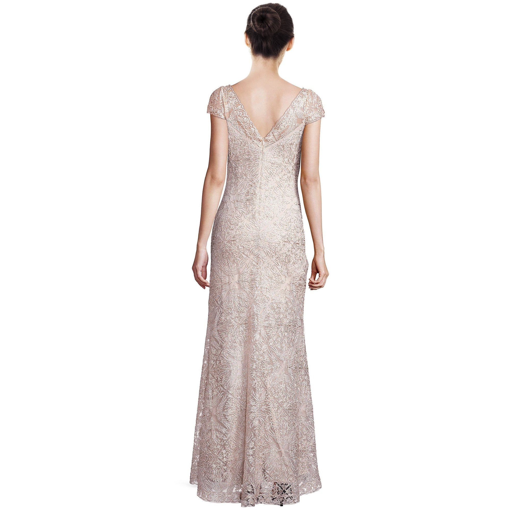 Shop Tadashi Shoji Corded Lace Embellished Cap Sleeve Evening Gown ...