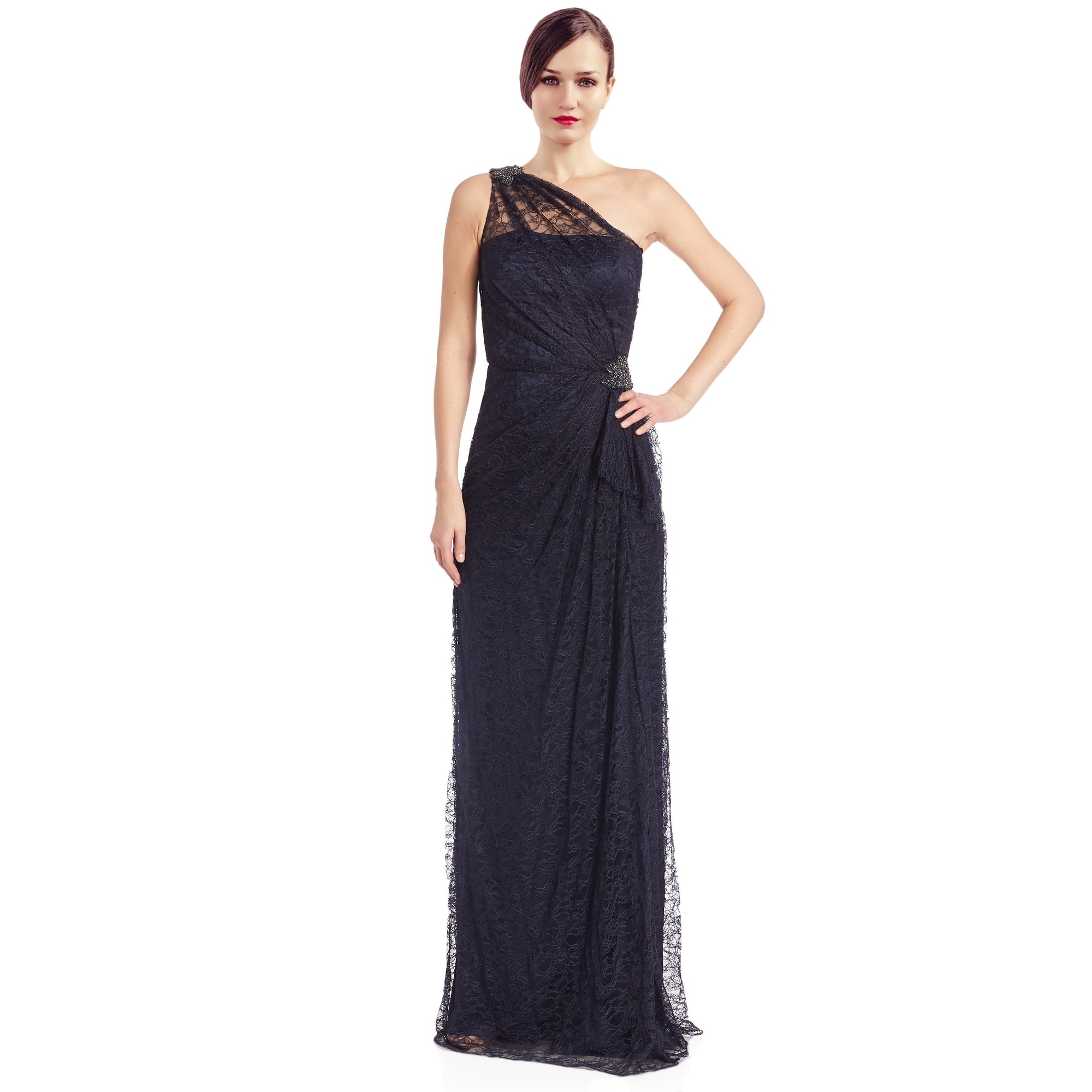 Shop David Meister Lace Rhinestone One Shoulder Evening Gown Dress ...