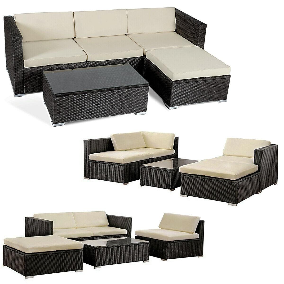d360be74b580 Shop Costway 5 PCS Patio Furniture Set Rattan Wicker Table Shelf Garden Sofa  W/ Cushion Brown - Free Shipping Today - Overstock - 18531901