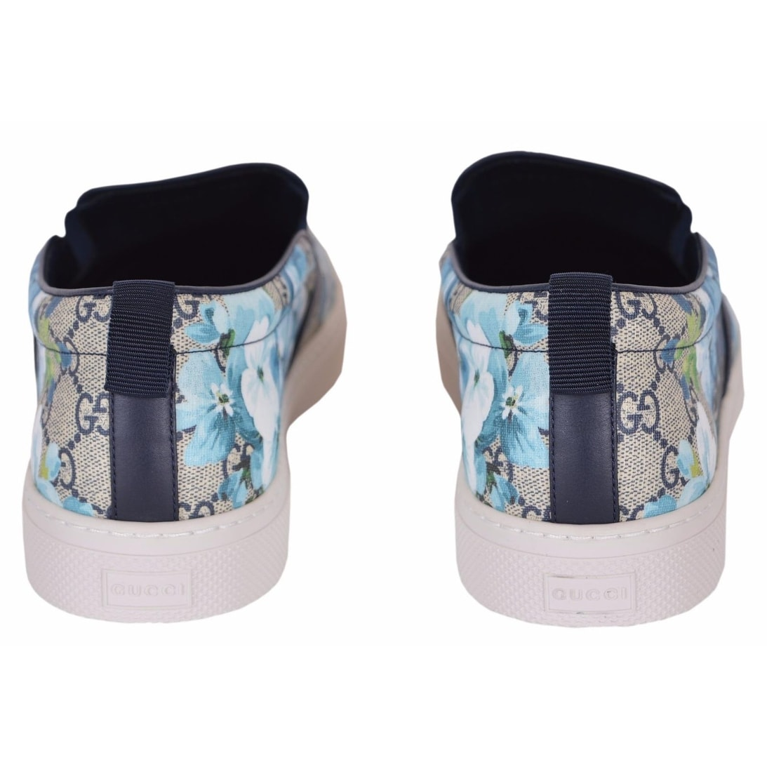 897db8aa2fd Shop Gucci Men s 407362 GG BLOOMS BLUE Coated Canvas Slip On Sneakers Shoes  12.5G 13.5US - Free Shipping Today - Overstock - 18945852