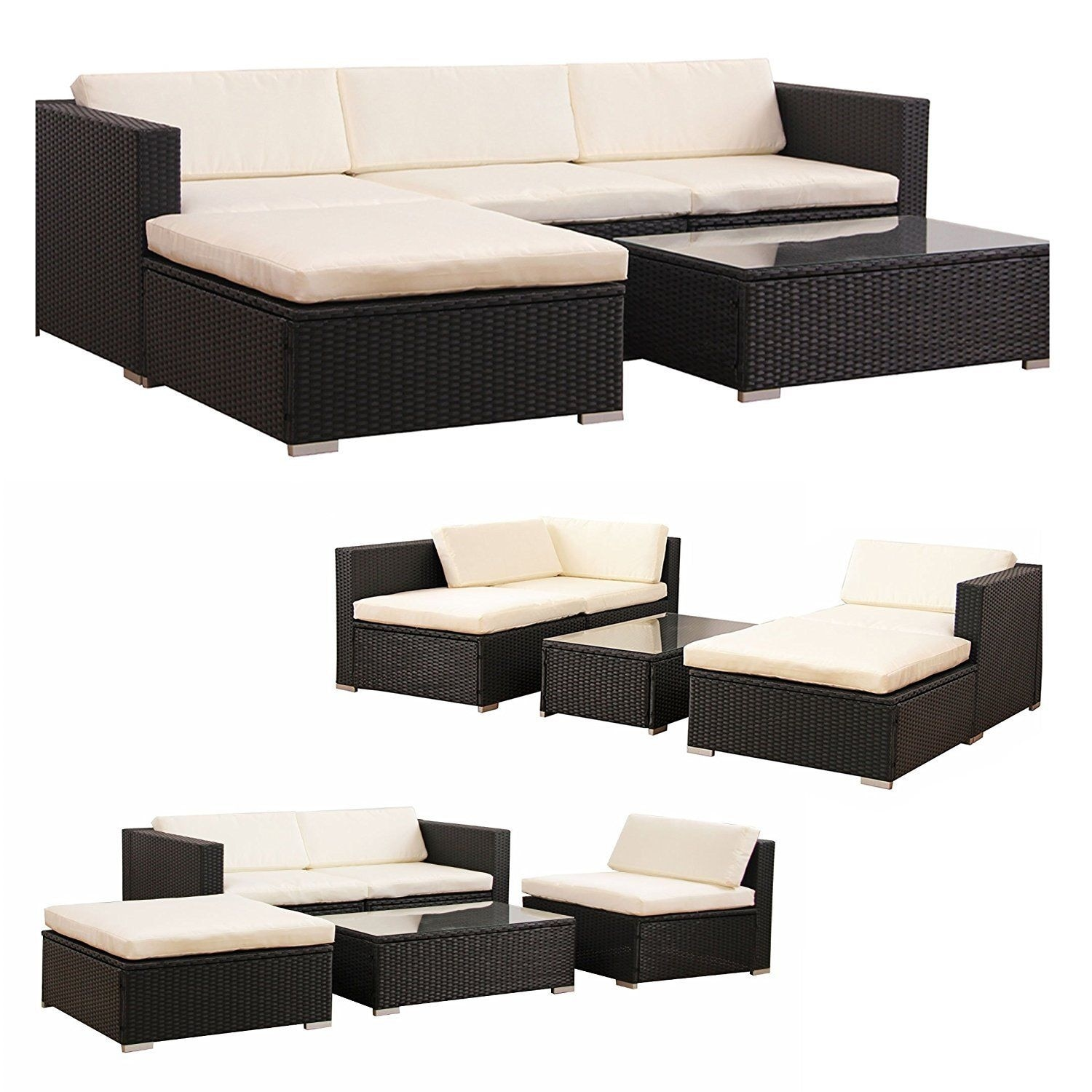Costway 5 Pcs Patio Furniture Set Rattan Wicker Table Shelf Garden Sofa W Cushion Brown Free Shipping Today 18531901