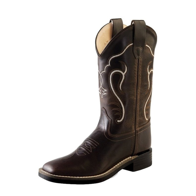 8b5bb79e8db Old West Cowboy Boots Boys Girls Kids Broad Square Toe Brown