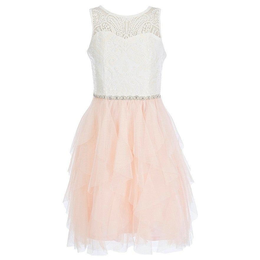 7f75a4ba8 Shop Rare Editions Girls Blush Rhinestone Cascade Ruffle Easter Dress -  Free Shipping On Orders Over $45 - Overstock - 23140229