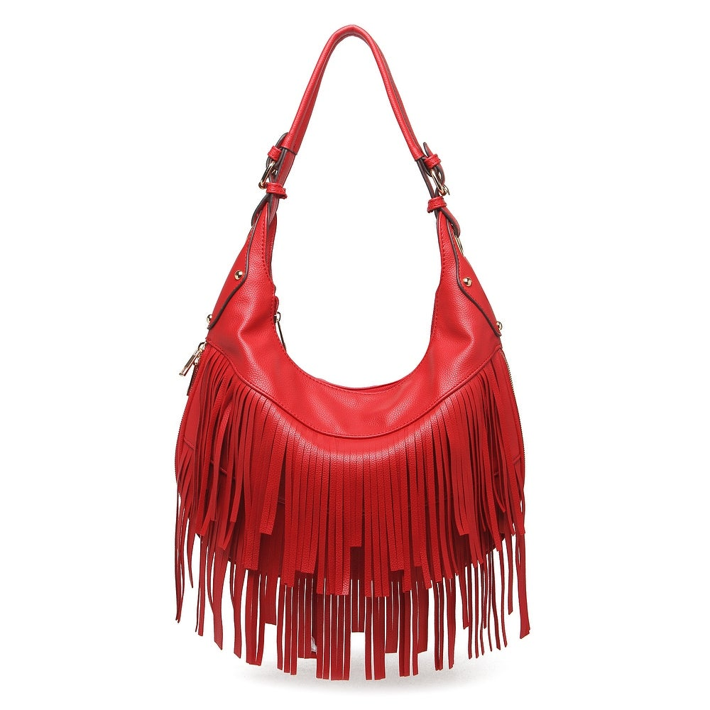 Style Strategy Bella Fringe Hobo Bag Red Free Shipping Today 16962423