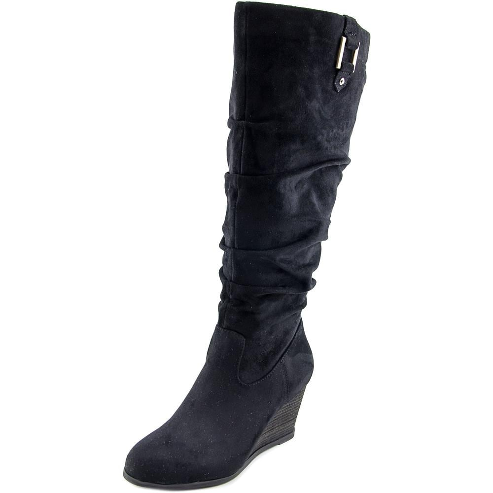73df2e02f59c Dr. Scholl s Poe Wide Calf Women Round Toe Canvas Black Knee High Boot