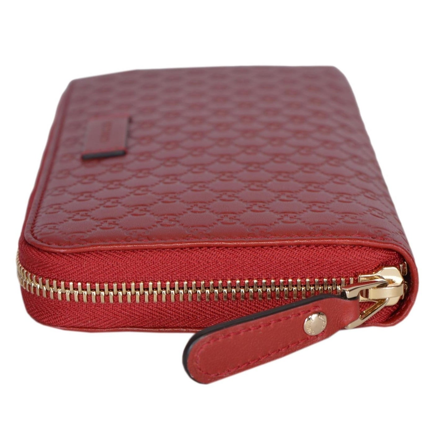 0c97db3ed3d Gucci Women s 449391 Red Leather Micro GG Guccissima Zip Around Wallet -  7.5