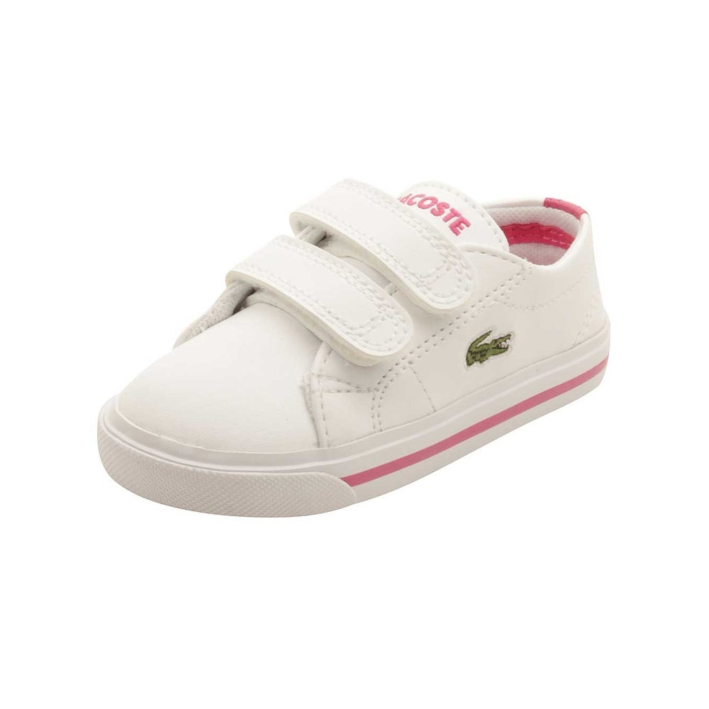 4e23de45220573 Shop Lacoste Infant Marcel 117 Sneakers in White Pink - Free ...