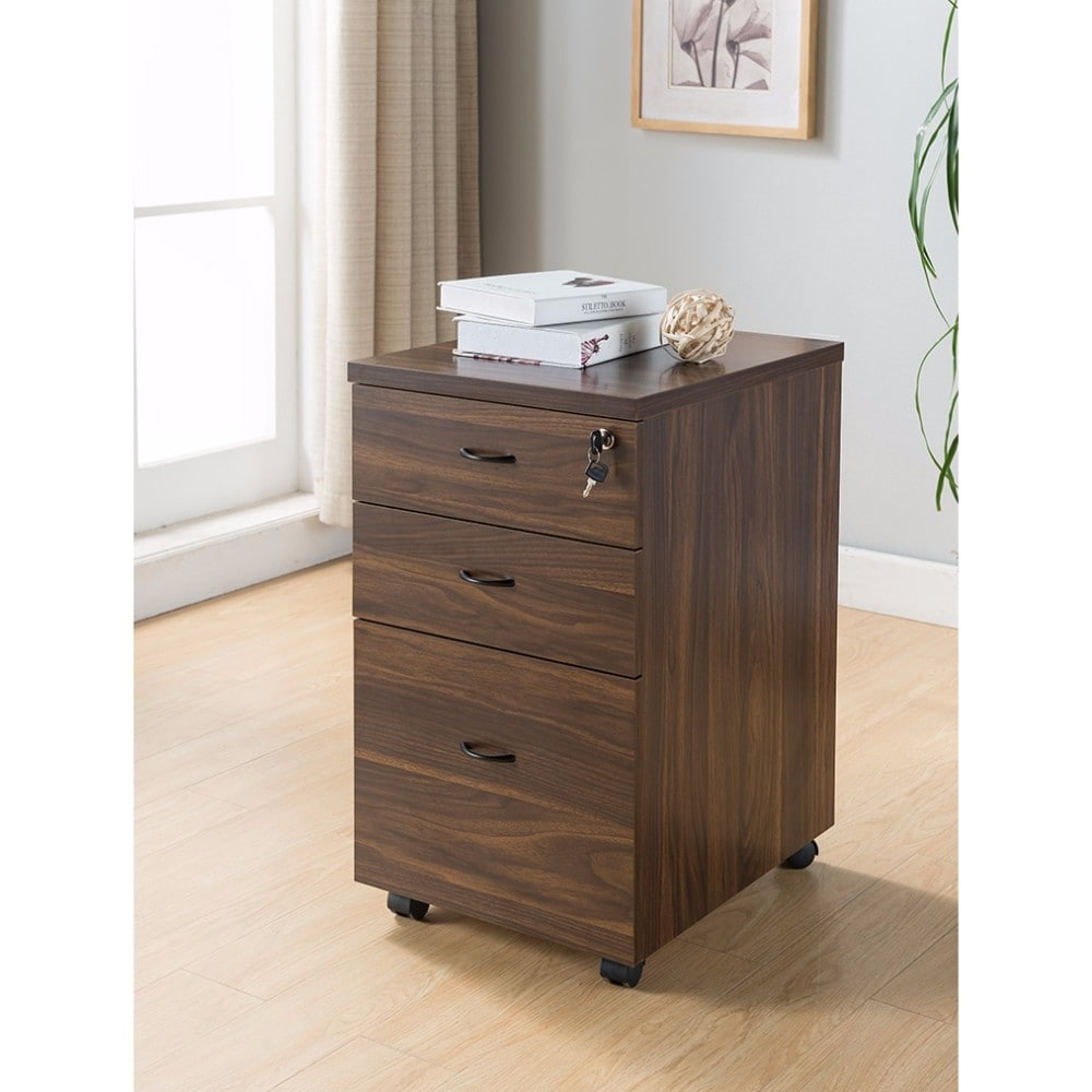 Wooden File Cabinet With Three Drawers Dark Brown