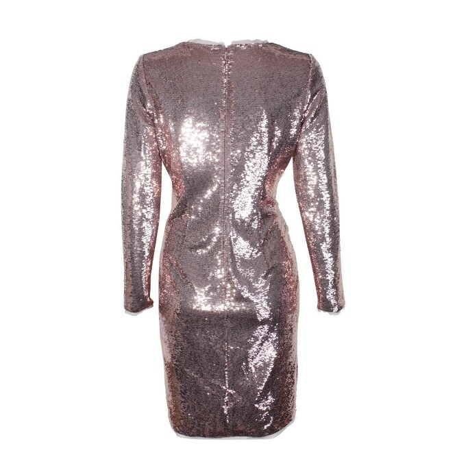 33cc824a Calvin Klein Rose Gold Sequin Long-Sleeve Sequined Knee Length Sheath Dress  14