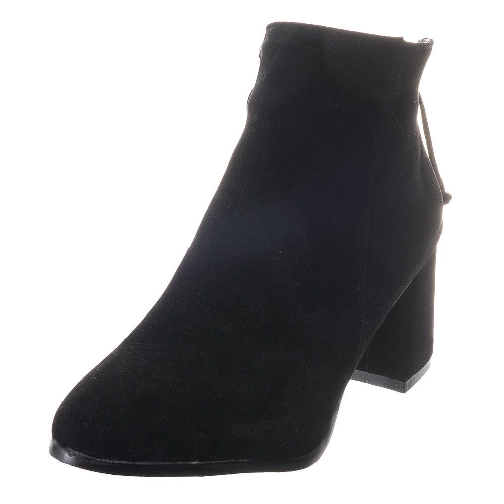 b46869edb78ee Popoye Women's Ankle Bootie Martin Boots Comfort Thick High Heels Pointed  Toe Suede Shoes