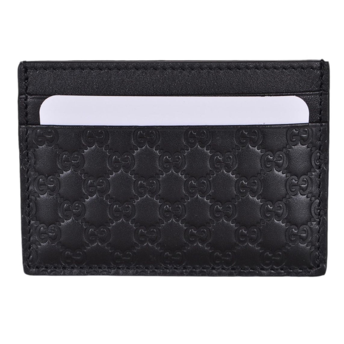 748e3bc08b7 Shop Gucci Men s 262837 Black Leather Micro GG Guccissima Small Card Case -  4