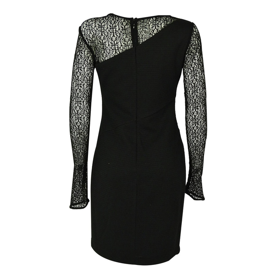 Guess Women\'s Long Sleeves Illusion Dress - Black - Free Shipping ...