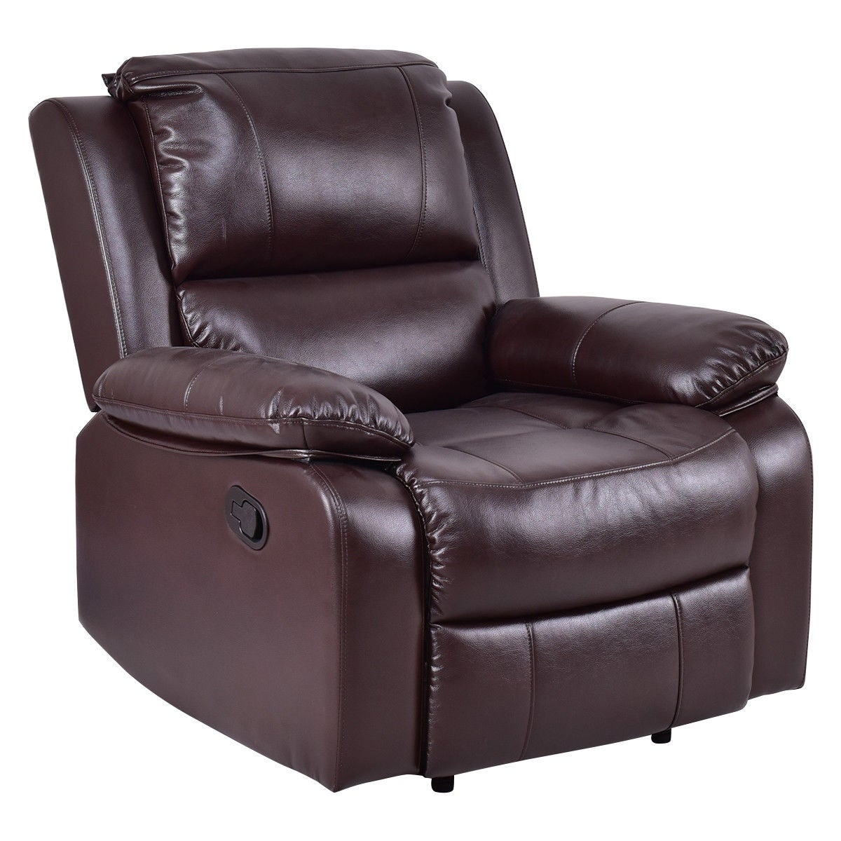 Superb Leather Lounge Chairs Recliners #10 - Costway Manual Recliner Sofa Lounge Chair PU Leather Home Theater Padded  Reclining Brown - Free Shipping Today - Overstock - 24841873