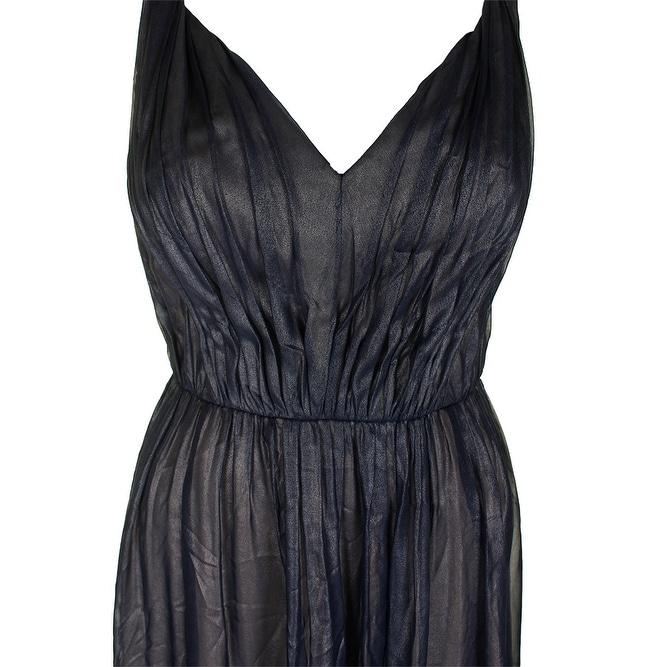 9cb8f8aa59595 Shop Vera Wang Navy Sleeveless Gathered Metallic Chiffon Gown 8 - Free  Shipping Today - Overstock - 24195635