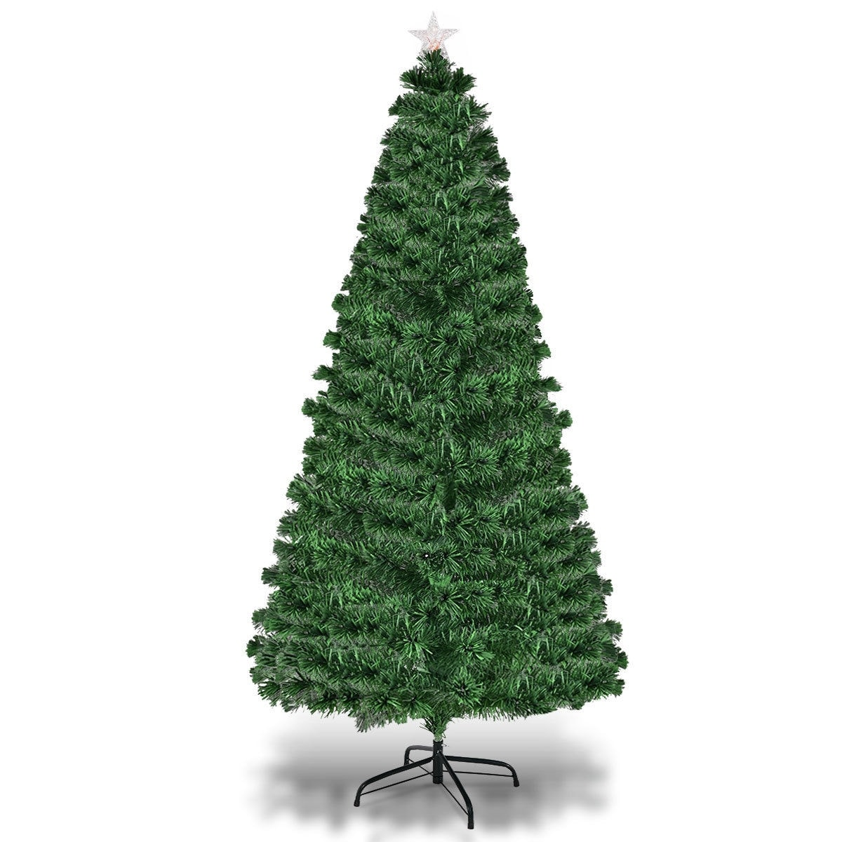 Costway 6ft Fiber Optic Artificial Christmas Tree W 225 Multi Color Led Lights And Stand Green Free Shipping Today 18180852