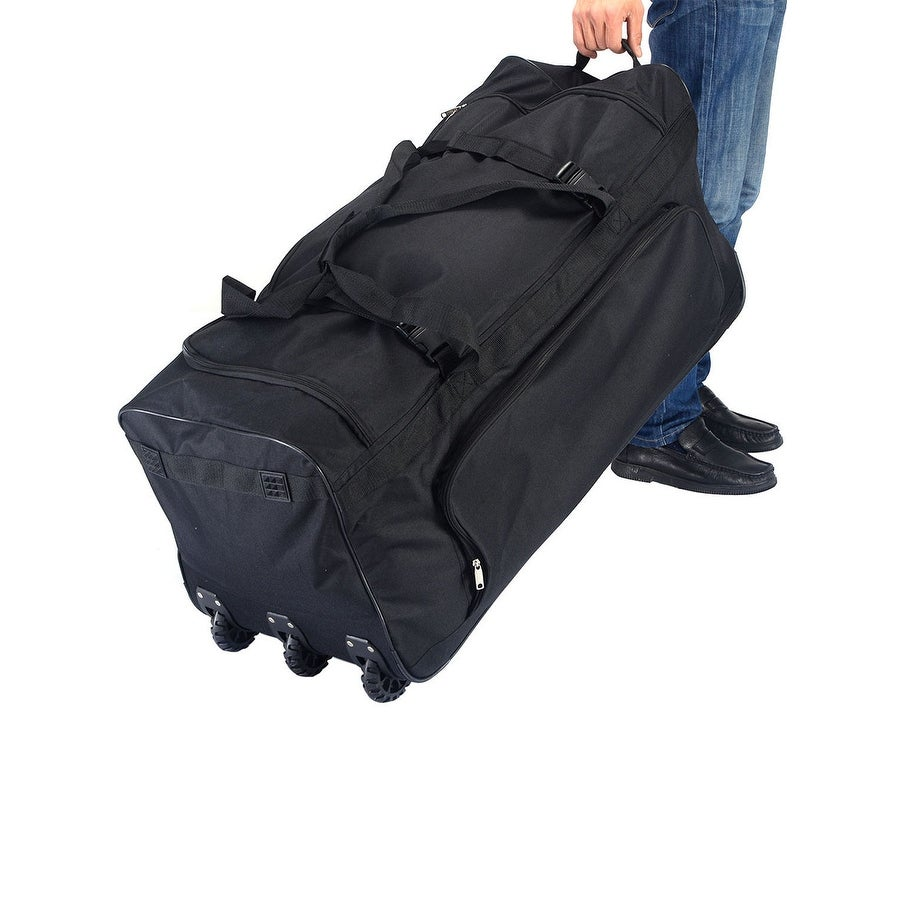 68af0162b7c6 Shop Costway 36   Rolling Wheeled Tote Duffle Bag Luggage Travel Duffle  Suitcase Black - Free Shipping Today - Overstock - 18659988