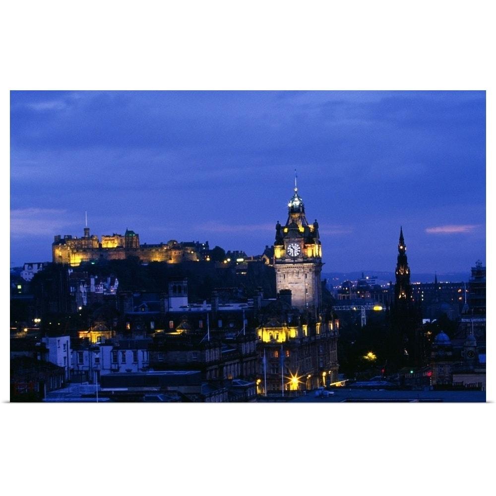 City skyline illuminated at night edinburgh scotland multi color