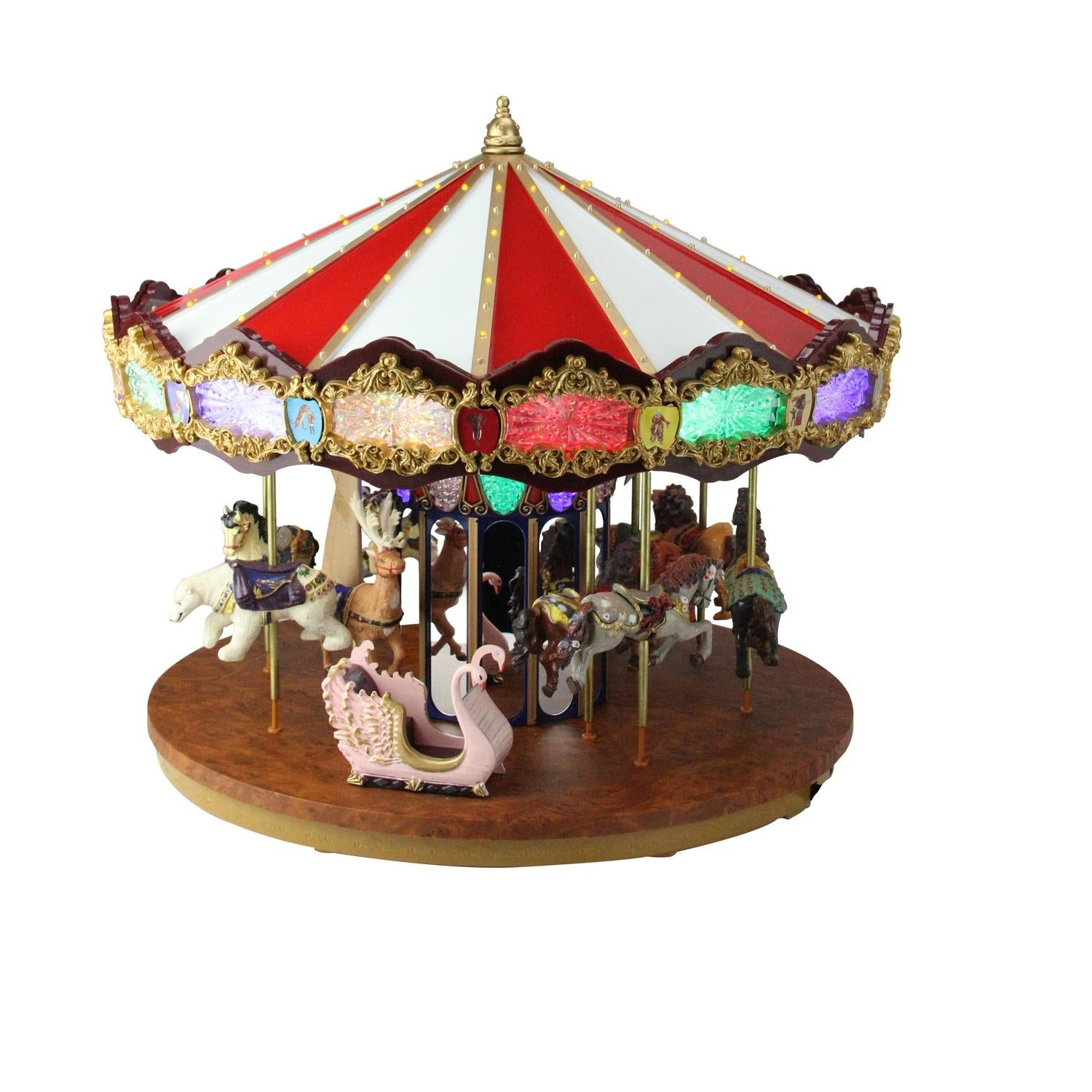 shop 14 lighted musical christmas carousel decoration multi free shipping today overstockcom 16548932