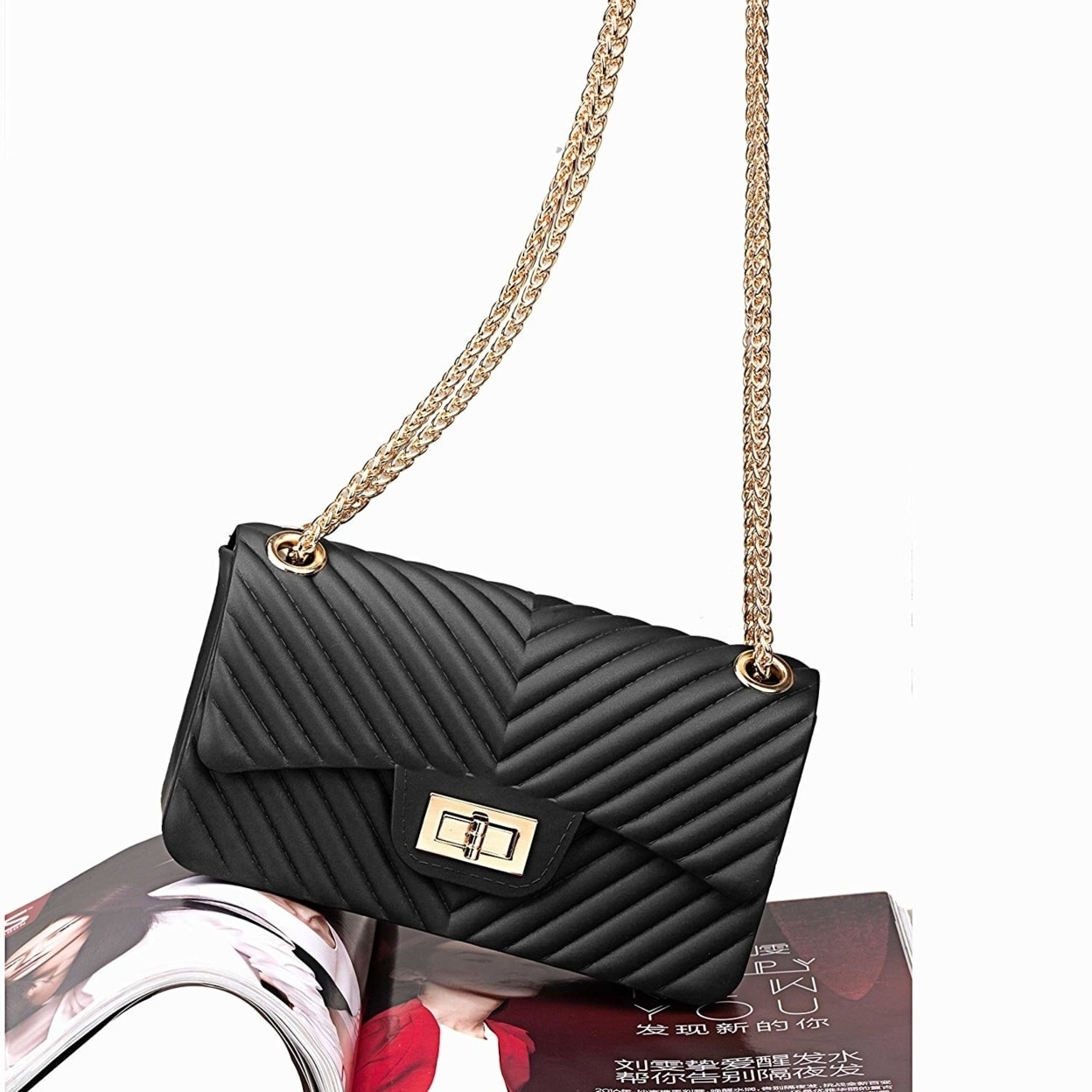 bc1b0f52bc3d Shop Women Fashion Shoulder Bag Jelly Clutch Handbag Quilted Crossbody Bag  with Chain - Free Shipping On Orders Over  45 - Overstock - 23488622