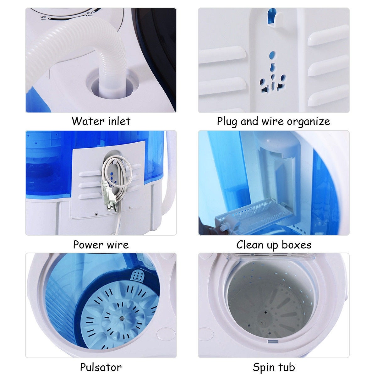 Shop Costway Portable Mini Washing Machine Compact Twin Tub 15lb Wiring Diagram Washer Spin Spinner Furni White And Blue On Sale Free Shipping Today