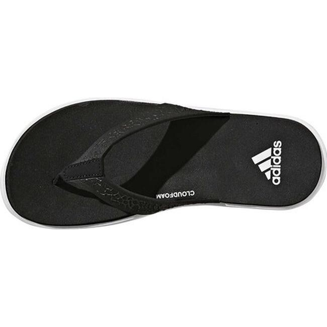 ace3e62adf3036 Shop adidas Women s Beachcloud Cloudfoam Y Thong Sandal Black White Black -  Free Shipping On Orders Over  45 - Overstock - 19840535