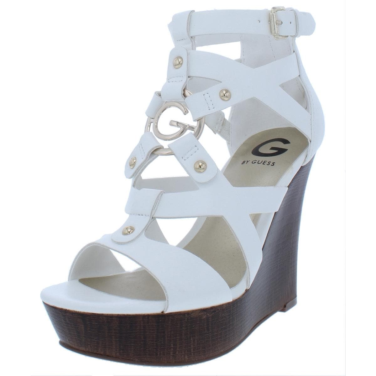 c0f3f4d6e47 Shop G by Guess Womens Dodge Wedge Sandals Embellished Faux Leather - Free  Shipping On Orders Over  45 - Overstock - 25587286