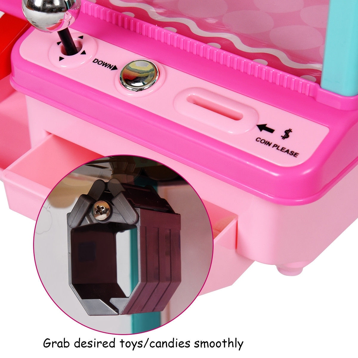 Costway Kids Electronic Claw Toy Grabber Machine Home Arcade w/ Lights &  Music & Coins - Pink