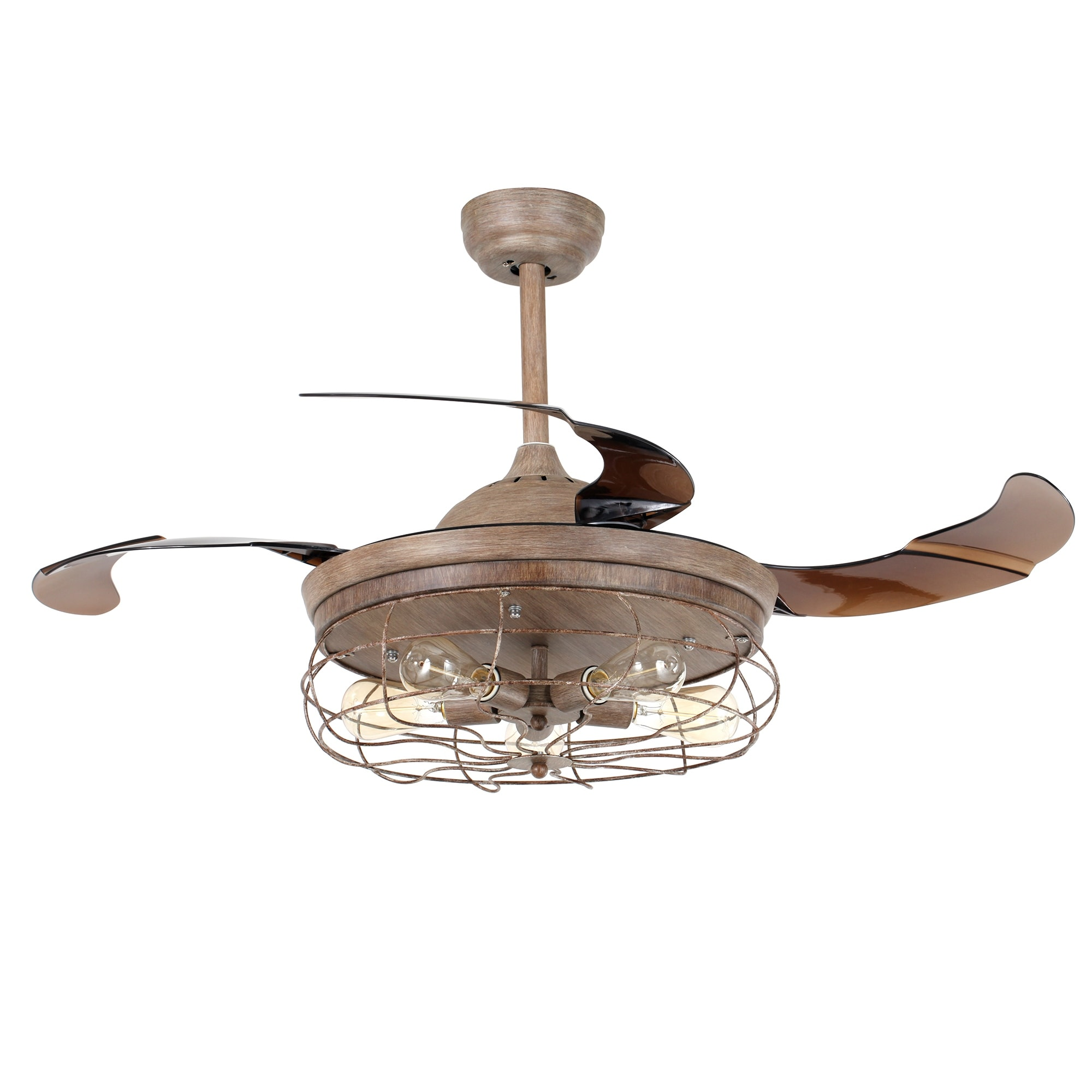 home garden inch modern today fan crystal ceiling led retractable gold blades product free shipping overstock
