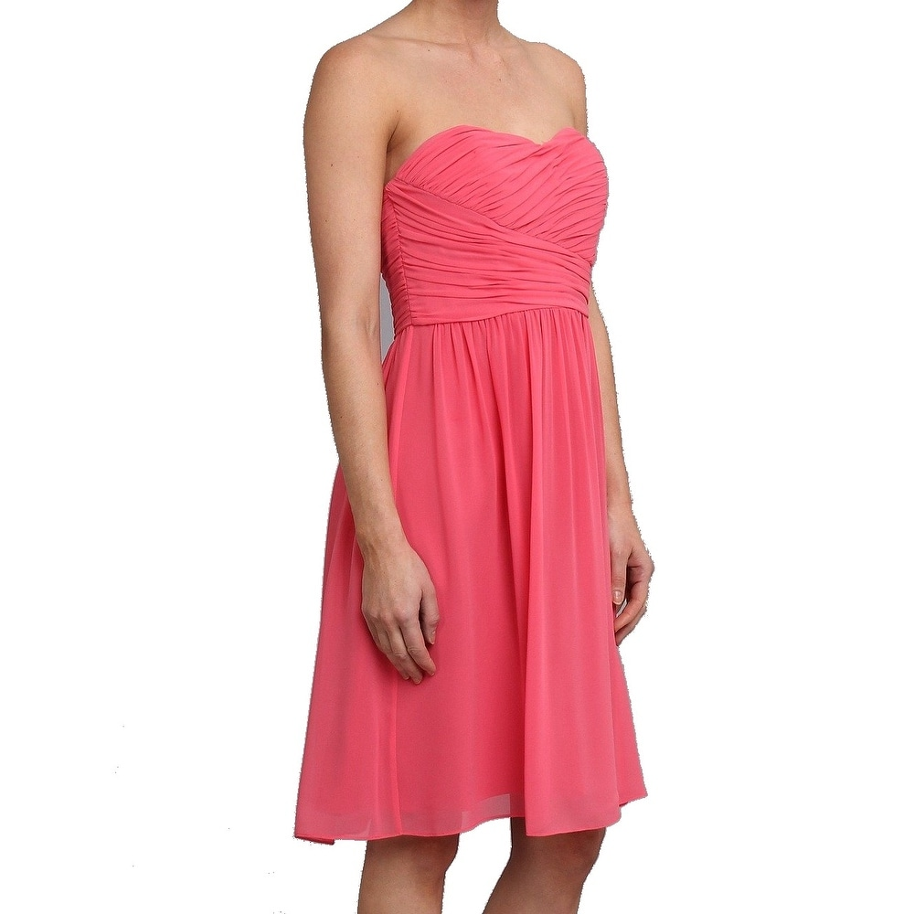 521df6ea8c63 Shop Donna Morgan NEW Pink Women Size 8 Strapless Sweetheart Chiffon Dress  - Free Shipping On Orders Over $45 - Overstock.com - 18388295
