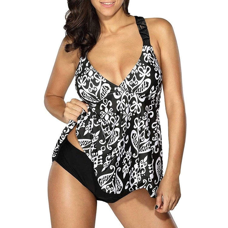 d5a09823d07d8 Shop EVALESS Black Women's Size XL Tankini Two Piece V-Neck Swimwear - Free  Shipping On Orders Over $45 - Overstock - 27046946