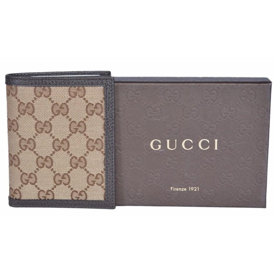 0e17c6d306a Shop Gucci 292533 Men s Beige Canvas GG Guccissima Vertical Bifold Wallet -  Brown - 3 7 8
