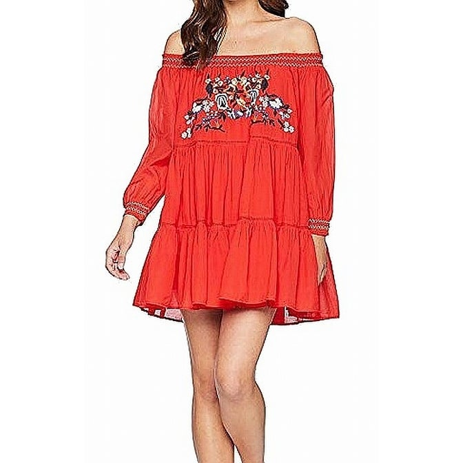 b91ae0aa558b9 Shop Free People Red Womens Small S Embroidered Sunbeam Mini Shift Dress -  Free Shipping Today - Overstock - 28017452