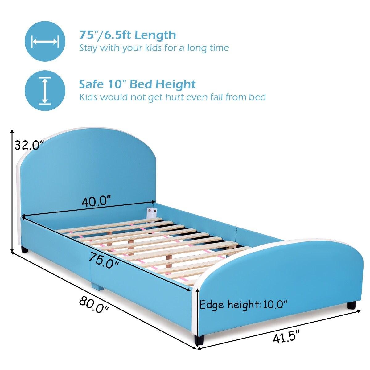 Shop Costway Kids Children PU Upholstered Platform Wooden Bed ...