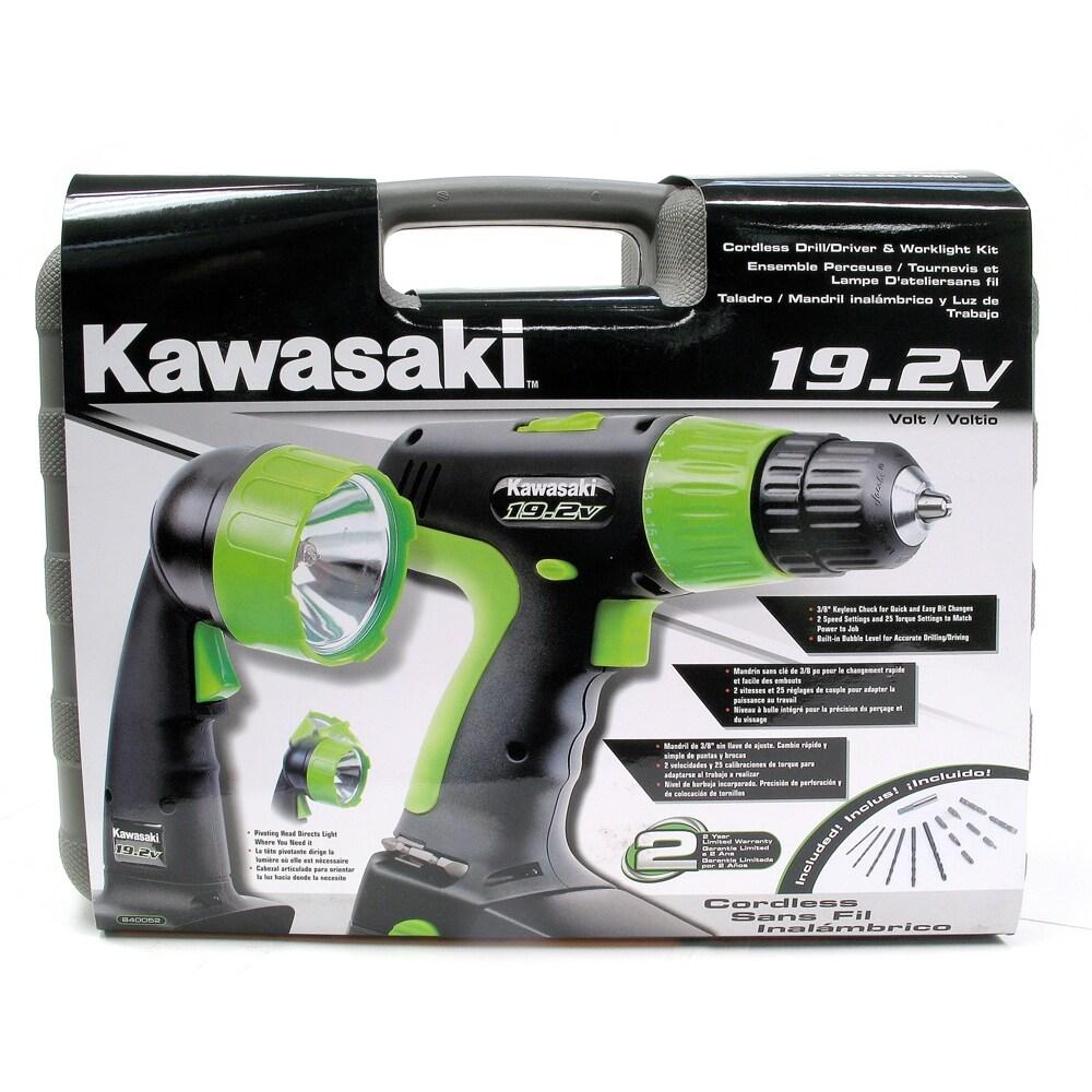 Kawasaki 19.2 Volt Cordless Drill & Cordless Work light Set, Power