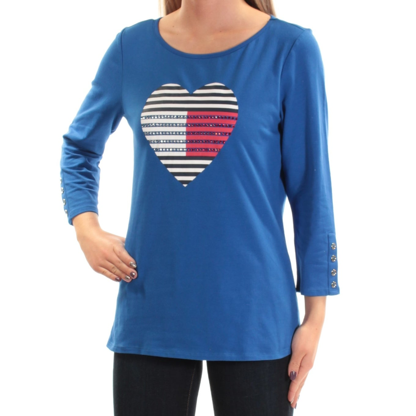 fb75a6eaa Shop TOMMY HILFIGER Womens Blue Rhinestone Heart Long Sleeve Scoop Neck Top  Size: S - On Sale - Free Shipping On Orders Over $45 - Overstock - 22430950