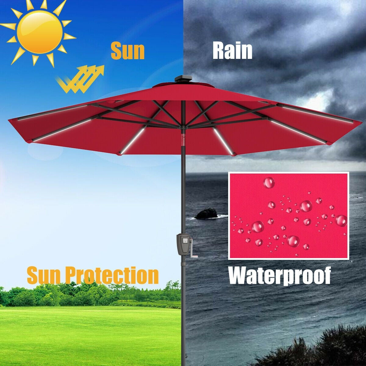 32163f55454b76 Shop Gymax 9 FT Patio Waterproof Solar Umbrella LED Light Tilt Red - On  Sale - Free Shipping Today - Overstock - 26438144