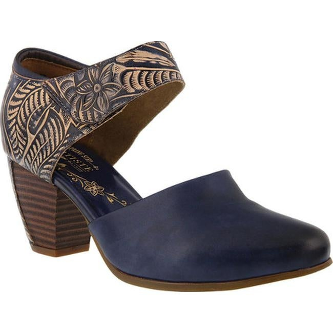 b9adaa15cb7b6 L'Artiste by Spring Step Women's Toolie Heeled Mary Jane Blue Leather
