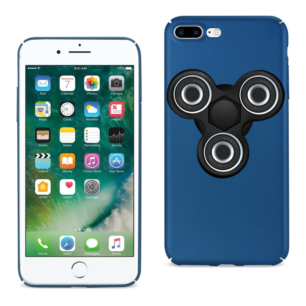 timeless design 770ef 96ee3 Reiko Iphone 7 Plus/ 6 Plus/ 6S Plus Case With Led Fidget Spinner Clip On  In Navy