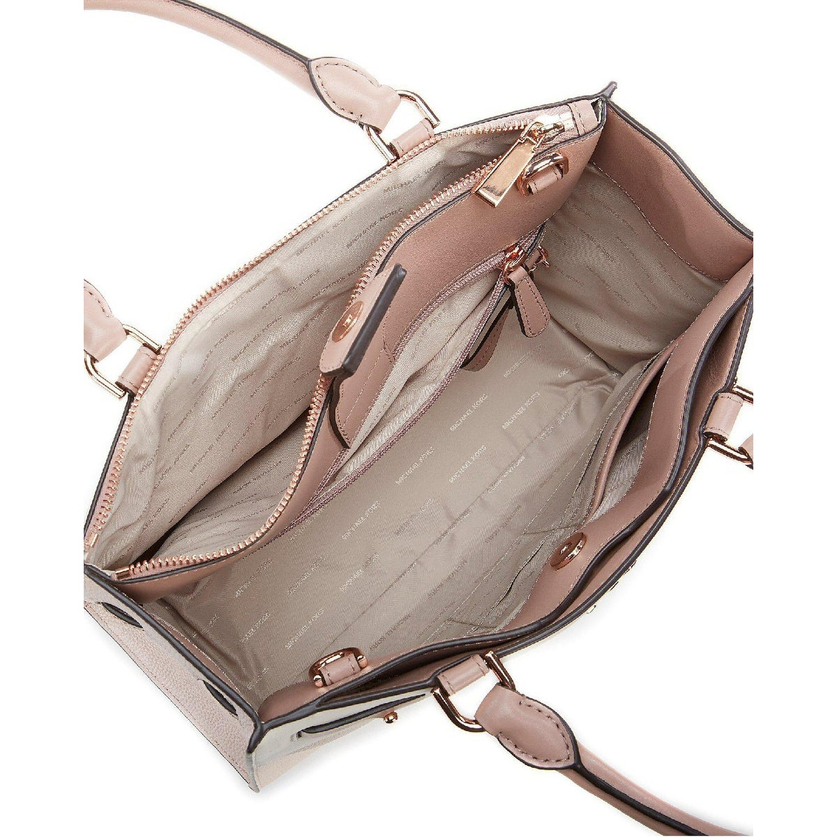 5ed35fb2f29ec5 Shop MICHAEL Michael Kors Reagan Large Leather Satchel Soft Pink/Light  Cream/Fawn - One Size - Free Shipping Today - Overstock - 27296242