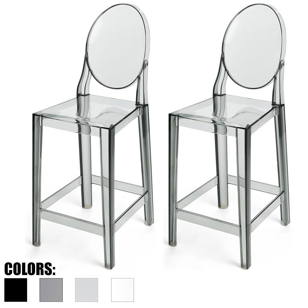 Shop 2xhome Set Of 2 Smoke 25 Counter Height Stool For Kitchen Home