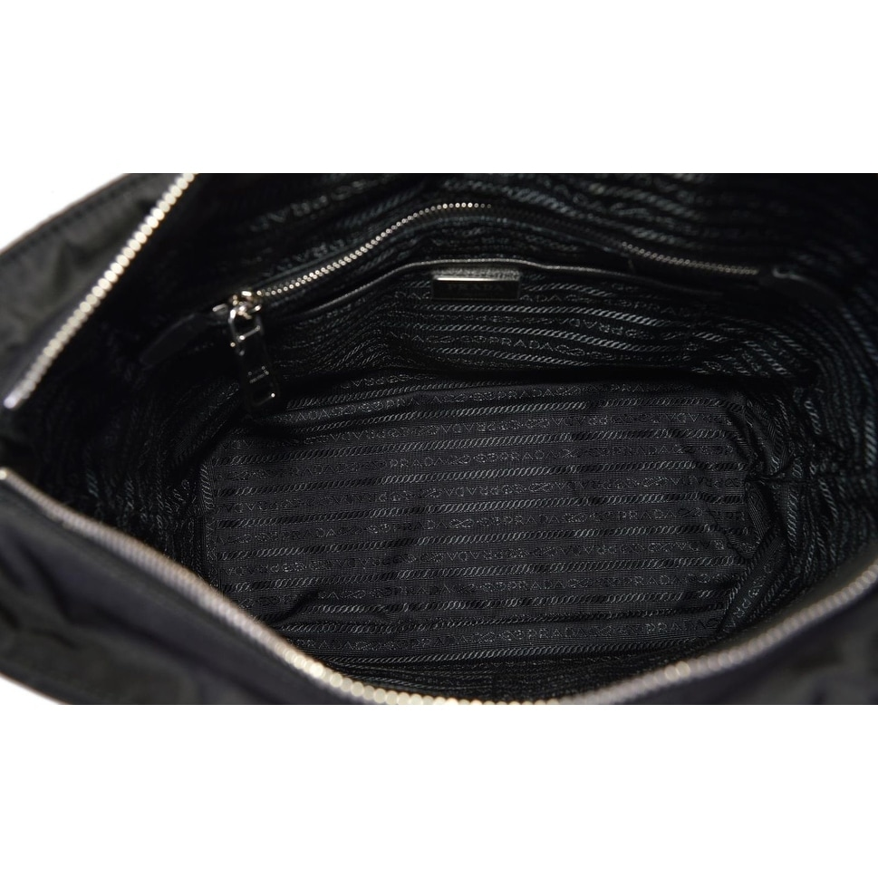 e808099cee1162 ... new zealand shop prada black 1bg017 black tessuto quilted nylon chain  strap purse tote on sale