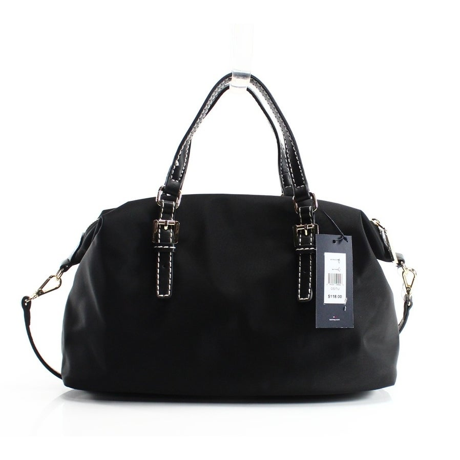 151226c8 Shop Tommy Hilfiger NEW Black Nylon Julia Medium Zip Satchel Bag ...