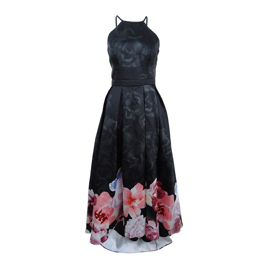 9c3d88e5526 Shop Xscape Women s Floral-Print High-Low Gown - Black Multi - On Sale -  Free Shipping Today - Overstock - 27150304
