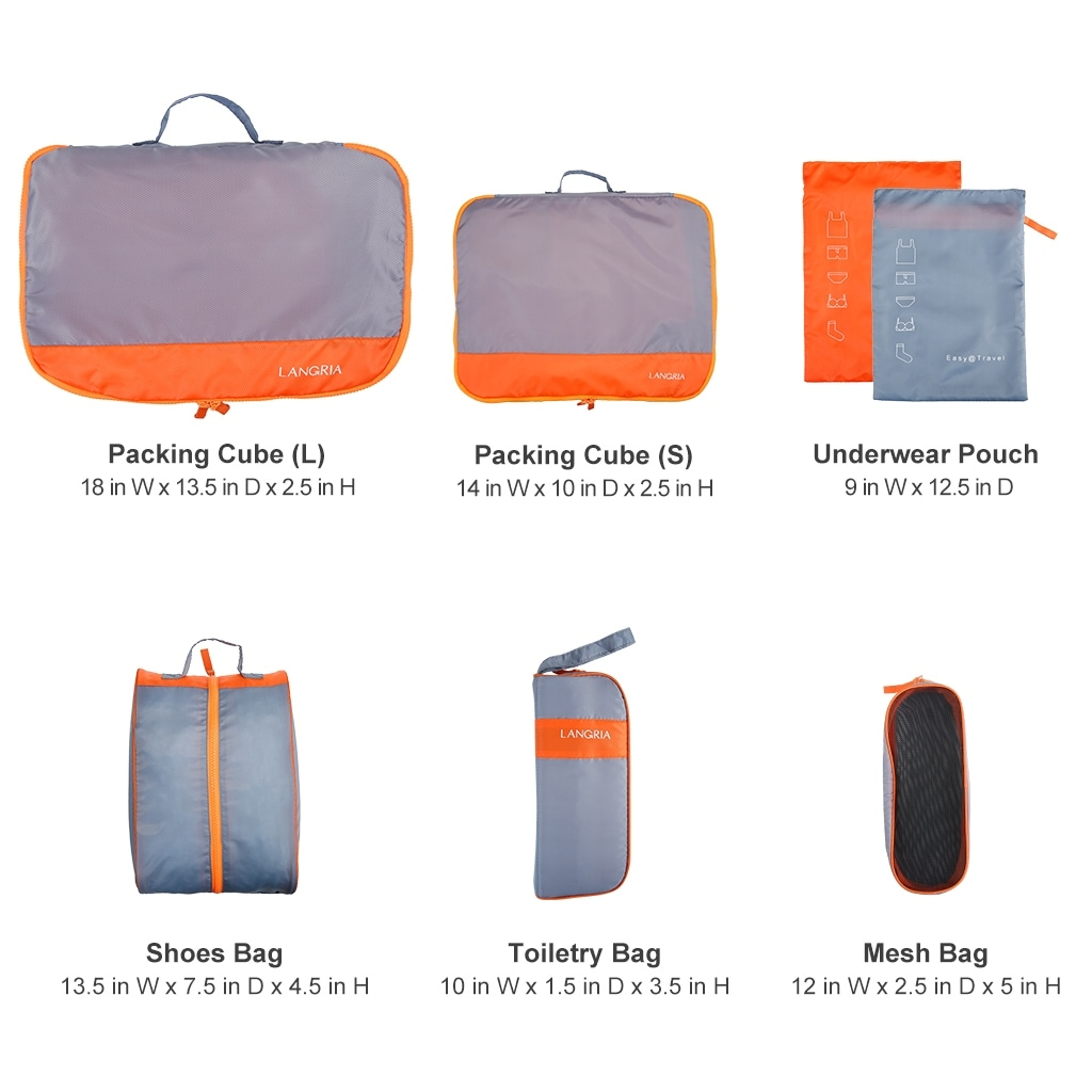 Shop Langria 7 Set Waterproof Packing Cubes Organizers For Travel Organizer Pouch 5 In 1 Bags Bag Luggage Suitcase Free Shipping On Orders Over 45 24262101