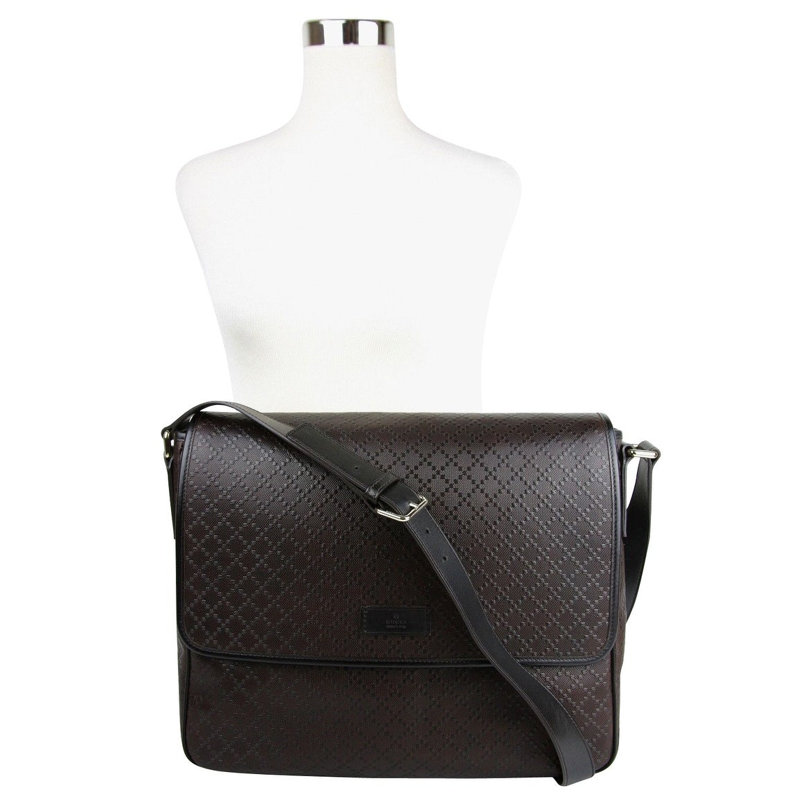 18134444aa03 Shop Gucci Men's Hilary Lux Dark Brown Diamante Leather Messenger Bag  223665 2044 - One size - Free Shipping Today - Overstock - 27603112