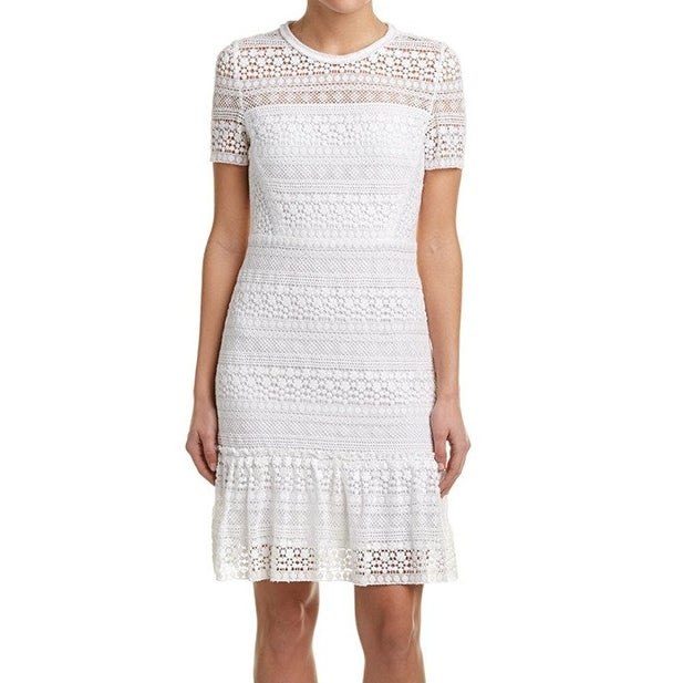 9aa086a0e297 Shop Elie Tahari NEW White Womens Size 8 Crochet Ruffled Sheath ...