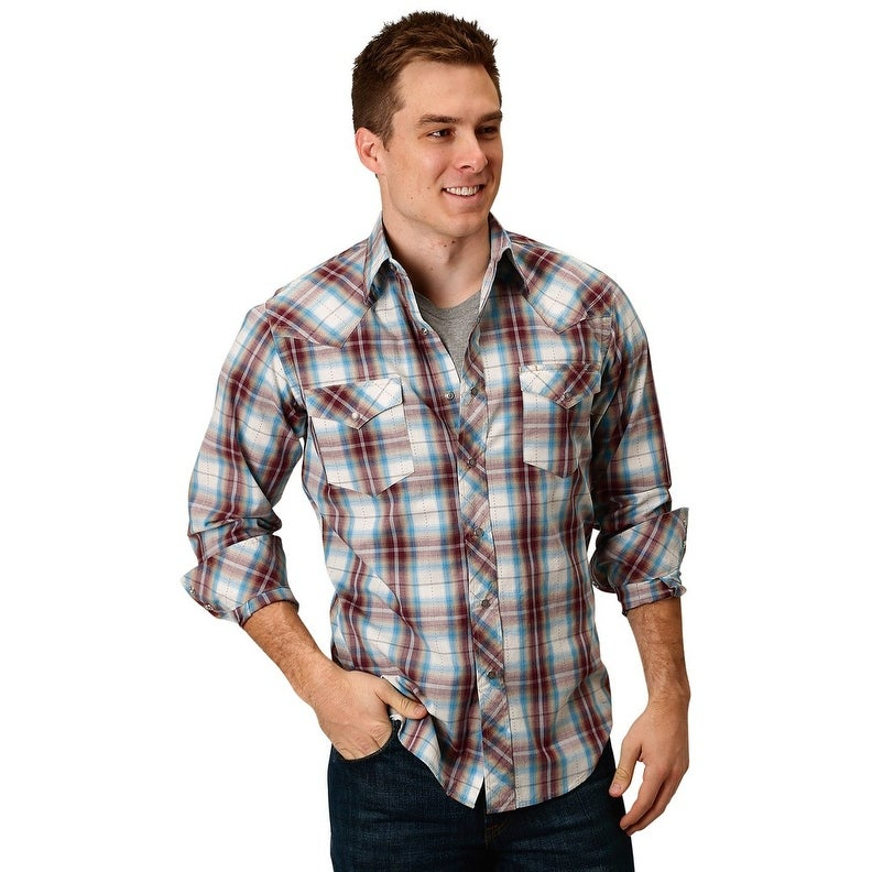 41be2452 Shop Roper Western Shirt Men Long Sleeve Plaid Snap Red - Free Shipping On  Orders Over $45 - Overstock - 28051380